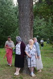 Pilgrims at healing cedar. Royalty Free Stock Image