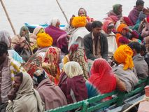 Pilgrims in the holy city of Varanasi in India Stock Photography