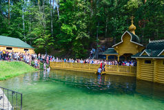 Pilgrims on holy source of St. Seraphim of Sarov, Russia Royalty Free Stock Images