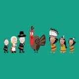 Pilgrims and indians illustration Royalty Free Stock Image