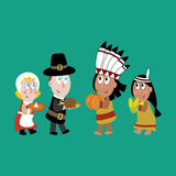 Pilgrims and indians illustration Stock Images