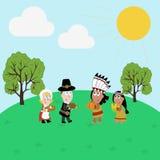Pilgrims and indians illustration Stock Photos
