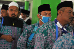 Pilgrims from Indonesia. Pilgrims arriving at embarkation, Boyolali Indonesia, before boarding a plane to leave for Saudi Arabia. Hajj is an annual religious Royalty Free Stock Photography