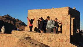 Pilgrims. Invocatory prayer. Moses Mountain. Sinai Peninsula. Egypt Stock Photography