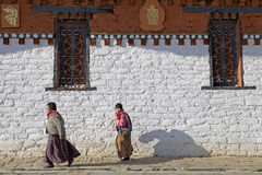 Pilgrims at the Jampey Lhakhang temple, Chhoekhor, Bhutan Royalty Free Stock Photos
