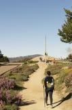 Pilgrims in La Cruz de Ferro, Camino de Santiago, Castilla y Leon Stock Image
