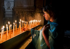 The pilgrims lit candles at the Church of the Holy Sepulchre  Stock Image