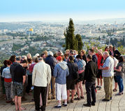 Pilgrims are looking at the beautiful view of Jerusalem and pra Stock Photo
