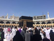 Pilgrims in Mecca. As the birthplace of Muḥammad, and the site of Muhammad`s first revelation of the Quran, Mecca is regarded as the holiest city in the royalty free stock photography