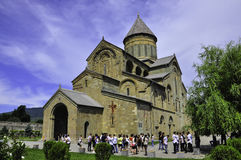 Pilgrims at Mtskheta monastery Stock Photos