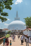 Pilgrims near white sacred stupa, Anuradhapura, Sri Lanka Royalty Free Stock Photos