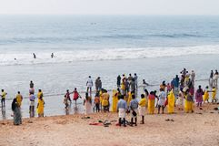 Pilgrims  on the Papanasam beach. Varkala Stock Image