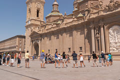 Pilgrims in Plaza del Pilar, Zaragoza Stock Photography