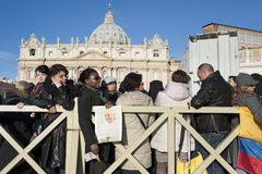 Pilgrims at Pope Francis mass Royalty Free Stock Photo