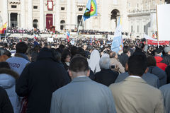Pilgrims at Pope Francis mass Royalty Free Stock Photography
