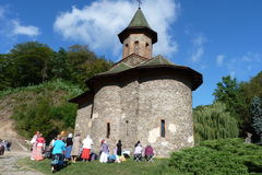 Pilgrims at Prislop Monastery Stock Images