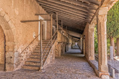 Pilgrims Quarters at Lluc Monastery, Mallorca. Stairs leading to the original pilgrims quarters at Lluc Monastery - Santuari de Lluc, where stabling was provide Stock Photo