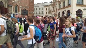 Pilgrims reach Czestochowa - Krakow stock video