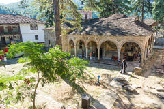 Pilgrims and the rector of the Troyan Monastery in Bulgaria Stock Image