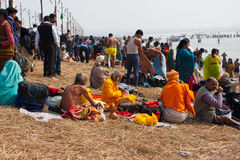 Pilgrims rest during the Kumbh Mela Royalty Free Stock Photos