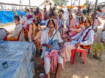 Pilgrims resting at Kumbh Mela Stock Photography