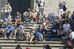 Pilgrims Resting on Stairs Royalty Free Stock Photo