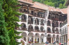 Pilgrims in the Rila Monastery, Bulgaria Royalty Free Stock Photography