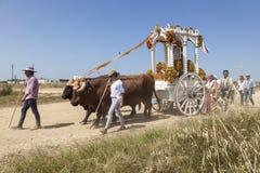 Pilgrims on the road to El Rocio, Spain. El Rocio, Spain - June 2, 2017: Pilgrims with a bull-drawn carriage on the road to El Rocio during the pilgrimage Stock Photography