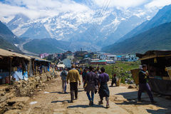 Pilgrims on the road to Kedarnath in the Indian Himalayas. Royalty Free Stock Images