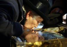 Pilgrims at Saint Demetrius relics Royalty Free Stock Photos