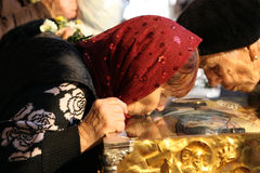 Pilgrims at Saint Demetrius relics Stock Photo