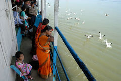 Pilgrims With Seagull. Pilgrimages going to Gangasagar festival through a vessel beside sea gulls searching food from the passengers Stock Image