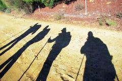 Pilgrims shadows. The shadows of pilgrims along the historic pilgrimage way to santiago de compostela in spain Stock Photo
