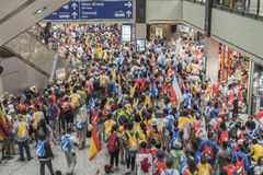 Pilgrims in shopping gallery in Krakow Stock Photo