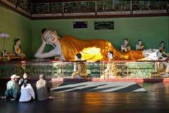 Pilgrims in Shwedagon, Myanmar Royalty Free Stock Photo