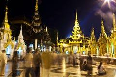 Pilgrims in the Shwedagon Paya, Myanmar Royalty Free Stock Photos