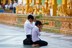 Pilgrims in the Shwedagon Paya, Myanmar Royalty Free Stock Photography
