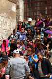 Pilgrims  from South-East Asia near Church of the Holy Sepulcher Royalty Free Stock Photo
