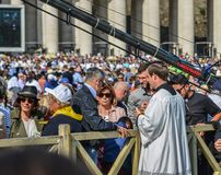 Pilgrims on the St. Peter Square in Vatican stock photos