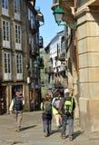 Pilgrims in the streets of Santiago de Compostela, Spain Royalty Free Stock Photos