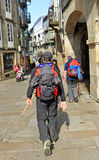 Pilgrims in the streets of Santiago de Compostela, Spain Stock Photo