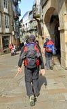 Pilgrims in the streets of Santiago de Compostela, Spain Stock Photo