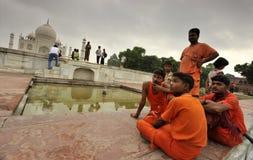 Pilgrims in Taj Mahal Stock Image