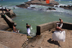 Pilgrims take holy bath in Kanyakumari. Stock Photo
