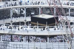 Pilgrims Tawaf Around Al-Kaaba While Construction Works Are Going on at Al Haram in Mecca. Saudi Arabia royalty free stock image