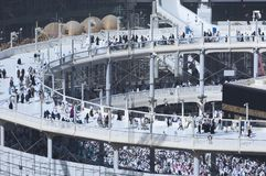 Pilgrims Tawaf Around Al-Kaaba While Construction Works Are Going on at Al Haram in Mecca royalty free stock photos