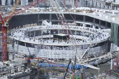 Pilgrims Tawaf Around Al-Kaaba While Construction Works Are Goin stock image