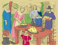 Pilgrims thanksgiving dinner Royalty Free Stock Images
