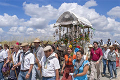 Pilgrims on their way to pilgrimage church El Rocio Stock Images