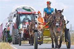 Pilgrims on their way to pilgrimage church El Rocio Stock Photos